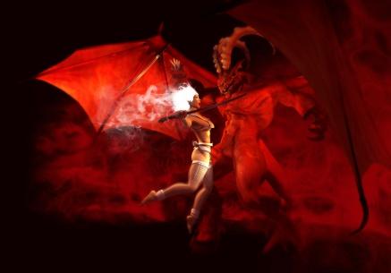 holy warrior woman vs demon
